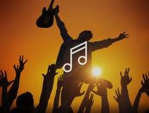 Melody Music Sound Key Artistic-het Concept van het Pictogramteken Stock Afbeelding