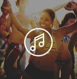 Melody Music Sound Key Artistic-het Concept van het Pictogramteken Stock Afbeeldingen
