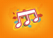Melody note label with ink paint Royalty Free Stock Photo
