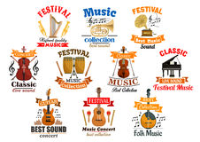 Melody notes with musical instruments icons. Instruments for music and melody notes with ribbon set of icons. Drum kit and acoustic, electric guitar, gramophone Royalty Free Stock Photography