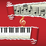 Melody-Piano-Music notes. Illustration of musical notes and piano under the red paper Stock Images