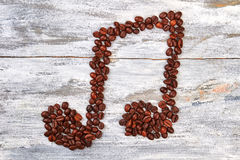 Melody shape from coffee beans. Stock Image