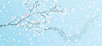 Melody of Spring. Tree in bloom with notes on its branches. Spring background with place for your text on the right. All elements are on separate layers Stock Photos
