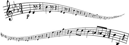 Melody strip. Transformed part of a melody Stock Illustration
