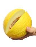 Meloen in de hand Stock Fotografie