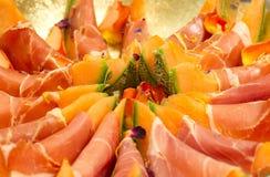 Meloen en ham Royalty-vrije Stock Fotografie