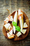 Meloen en ham Royalty-vrije Stock Foto's