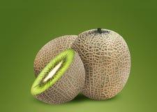 Meloen en kiwi binnen Stock Fotografie