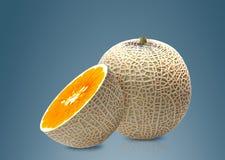 Meloen en Sinaasappel binnen Stock Afbeelding