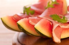 Meloen met de Ham van Parma Royalty-vrije Stock Afbeeldingen