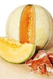 Meloen met ham Stock Afbeelding