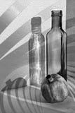 Melograno, bottiglia ed ombre. Ancora vita. Fotografia Stock Libera da Diritti