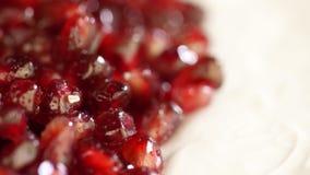 Melograno sugoso luminoso Grani del melograno su un fondo bianco Macro Macro fucilazione Granuli rossi del melograno archivi video