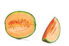 Melonów cięcia na białym tle Fotografia Stock