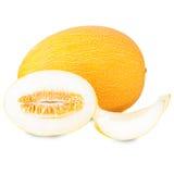 Melonów plasterki odizolowywający na białej tło wycinance Zdjęcie Royalty Free