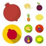 Melon, śliwka, ananas, cytryna Owoc ustawiać inkasowe ikony w kreskówce, mieszkanie symbolu zapasu ilustraci stylowa wektorowa si Obraz Stock
