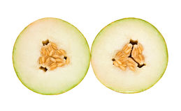 Melon. Two halves of juicy melon. Isolation Stock Image