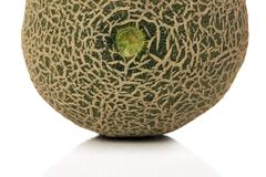 Melon. Close-up of a sliced japanese melon over white background Stock Images