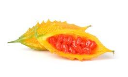 Melon amer d'isolement sur le fond blanc Images stock
