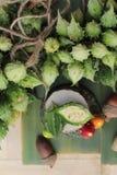 Melon amer et découpé en tranches sur le fond en bois Image stock