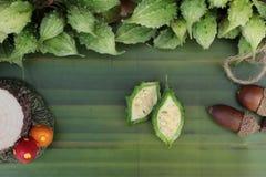 Melon amer et découpé en tranches sur le fond en bois Photo libre de droits