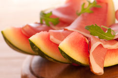 Melon avec le jambon de Parme Images libres de droits
