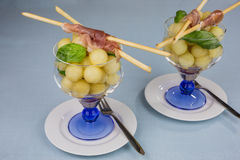 Melon balls with ham Royalty Free Stock Images