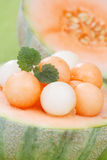 Melon balls with mint Royalty Free Stock Photography
