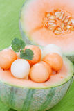 Melon balls with mint Royalty Free Stock Photos