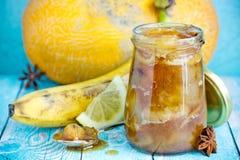 Melon banana jam with lemon royalty free stock image