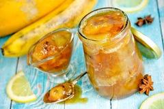 Melon banana jam with lemon stock image