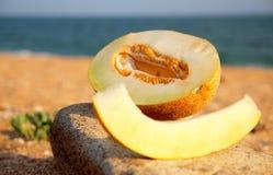 Melon. A melon on the beach against the sea Stock Image