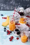 Melon and blueberries smoothie stock images