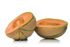 Melon cantaloupe. Freshly sliced melon over white background Royalty Free Stock Photography