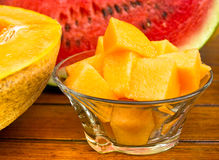 Melon - cantaloupe and watermelon Royalty Free Stock Image