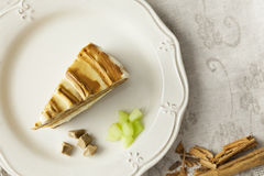 Melon and caramel cake slice on a plate Stock Photos