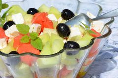 Melon and cheese salad stock photos