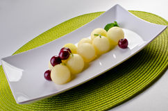 Melon and cherry desert Royalty Free Stock Images