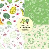 Melon cherry pattern Stock Photography