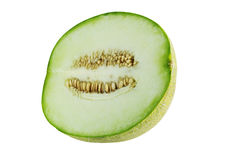 Melon close up. Melon half close up on white background Stock Photos
