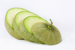 Melon. Close up slice melon on white background Stock Photos