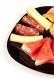 Melon with cold meat Stock Images