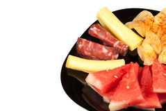 Melon with cold meat Stock Photography
