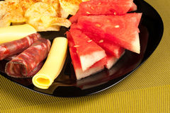 Melon with cold meat Stock Image