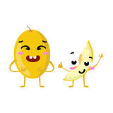 Melon. Cute fruit vector character couple isolated on white background. Funny emoticons faces. Illustration. Royalty Free Stock Image