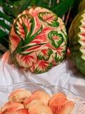 Melon découpé images stock