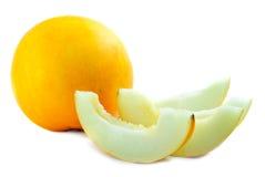 melon de cantaloup coupé en tranches photos stock