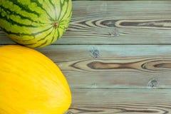 Melon entier frais de pastèque et de canari Image libre de droits