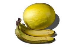 Melon et bananes jaunes juteux délicieux Photo libre de droits