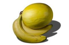 Melon et bananes jaunes juteux délicieux Photos stock